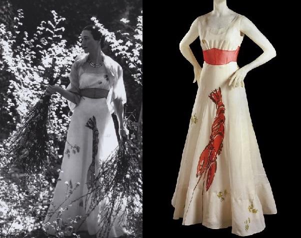 1937, Elsa Schiaparelli robe avec motif homard dessiné par Salvador Dali